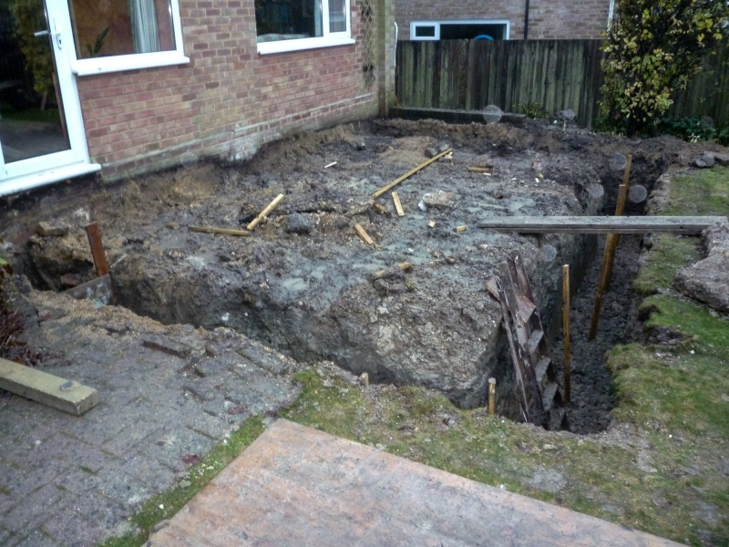 Day 4 - start - footings waiting for concrete - view 1