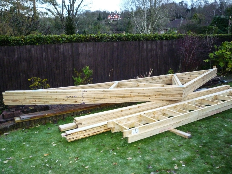 Start of Week 4 Day 2 - 3 - roof trusses delivered